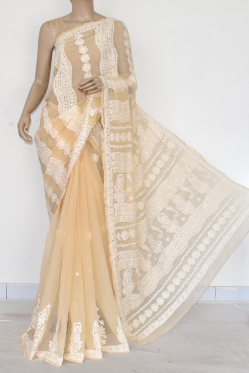 Beige Hand Embroidered Lucknowi Chikankari Saree (Georgette-With Blouse) 14603
