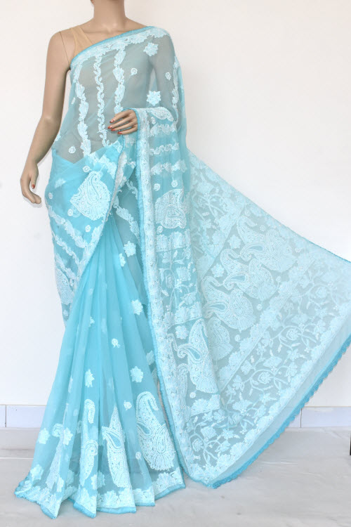 Blue Hand Embroidered Lucknowi Chikankari Saree (Georgette-With Blouse) 14604