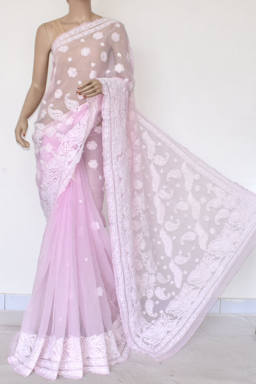 Light Purple Hand Embroidered Lucknowi Chikankari Saree (Georgette-With Blouse) 14605