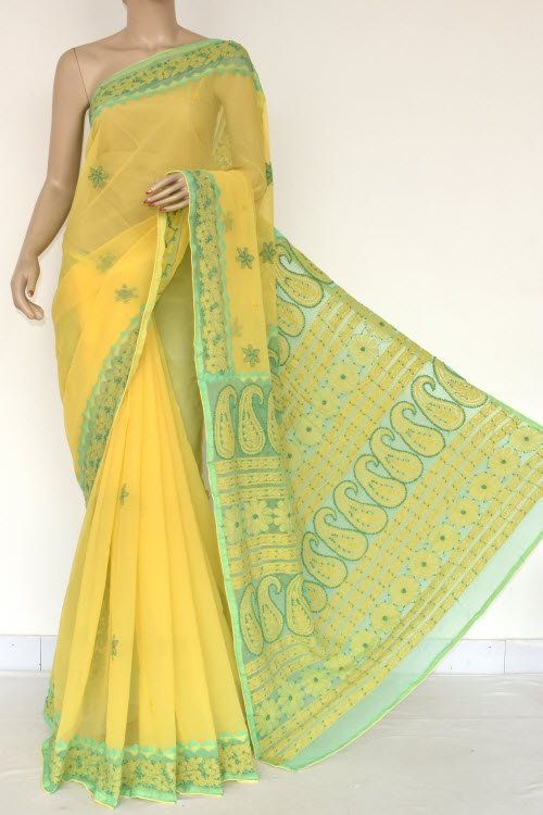 Yellow Hand Embroidered Lucknowi Chikankari Saree (Georgette-With Blouse) 14607