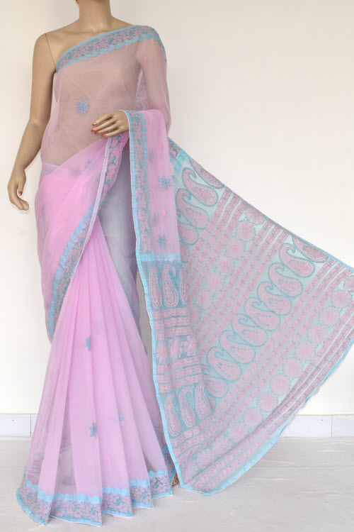 Pink Hand Embroidered Lucknowi Chikankari Saree (Georgette-With Blouse) 14608