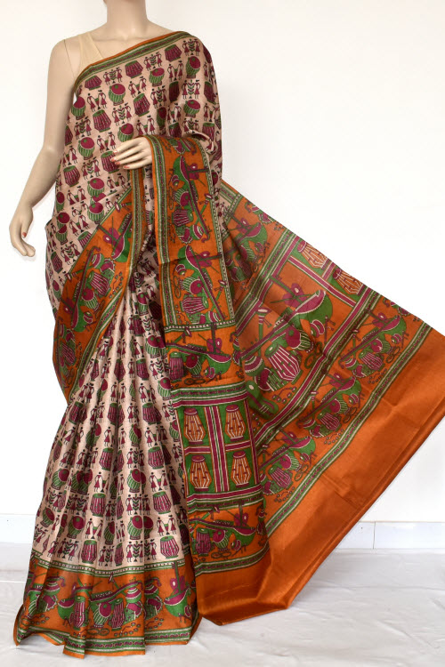 Mustared Tusser Art Silk Printed Saree (With Blouse) 13444