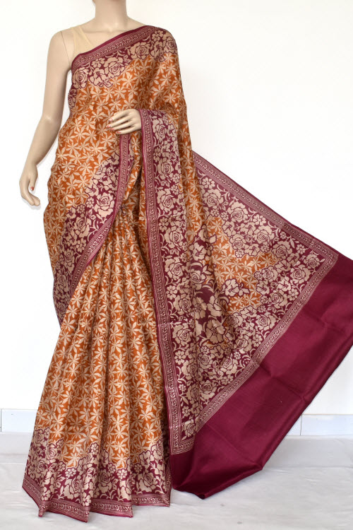 Mustared Tusser Art Silk Printed Saree (With Blouse) 13452
