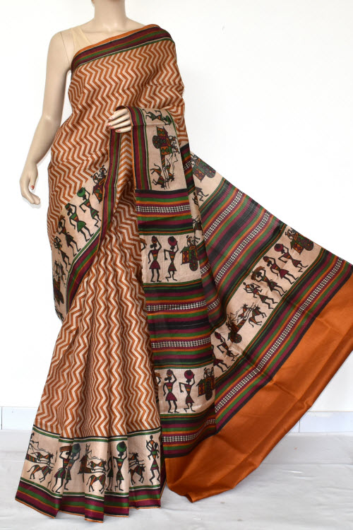 Mustared Tusser Art Silk Printed Saree (With Blouse) 13455