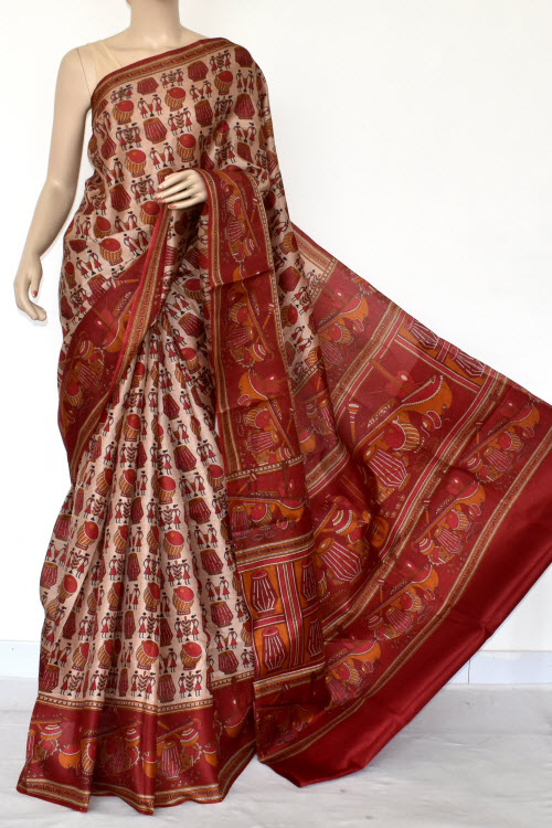 Maroon Tusser Art Silk Printed Saree (With Blouse) 13457