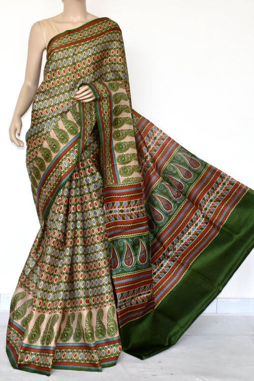 Green Tusser Art Silk Printed Saree (With Blouse) 13459