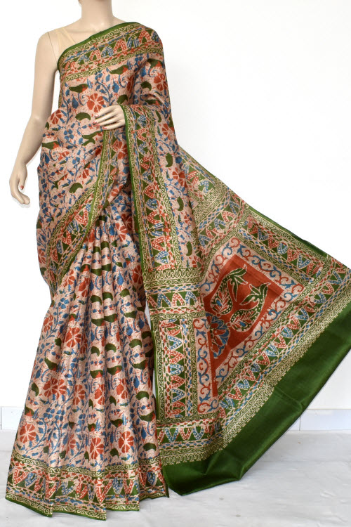 Multi-Color Tusser Art Silk Printed Saree (With Blouse) 13464