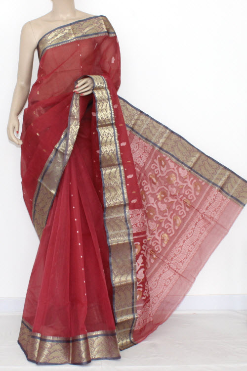 Light Maroon Handwoven Bengali Tant Cotton Saree Zari Border (Without Blouse) 14102