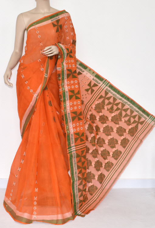 Orange Handwoven Bengal Tant Cotton Saree (Without Blouse) 14166