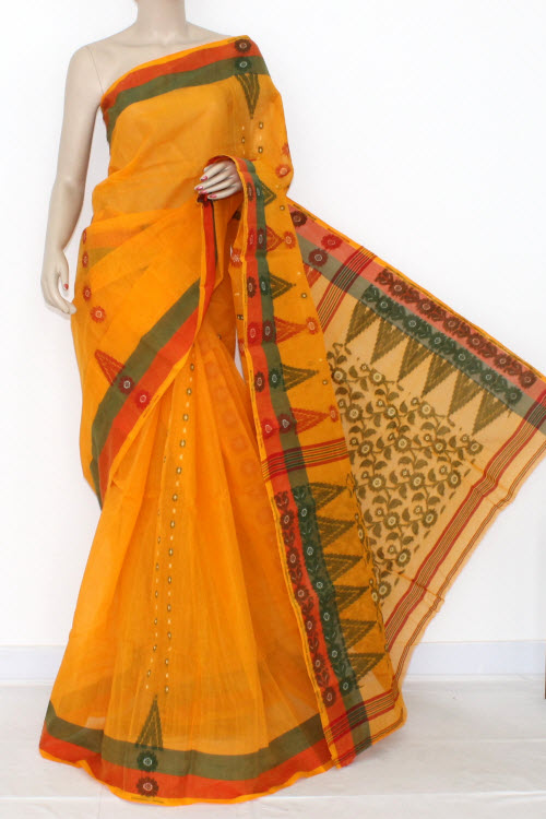 Deep Yellow Handwoven Bengali Tant Cotton Saree (Without Blouse) 14186
