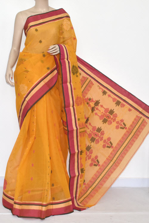 Golden Yellow Handwoven Bengali Tant Cotton Saree (Without Blouse) 14223