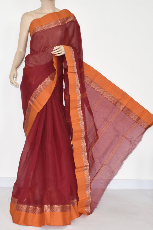 Maroon Handwoven Bengal Tant Cotton Saree (Without Blouse) Mustared Border 14284