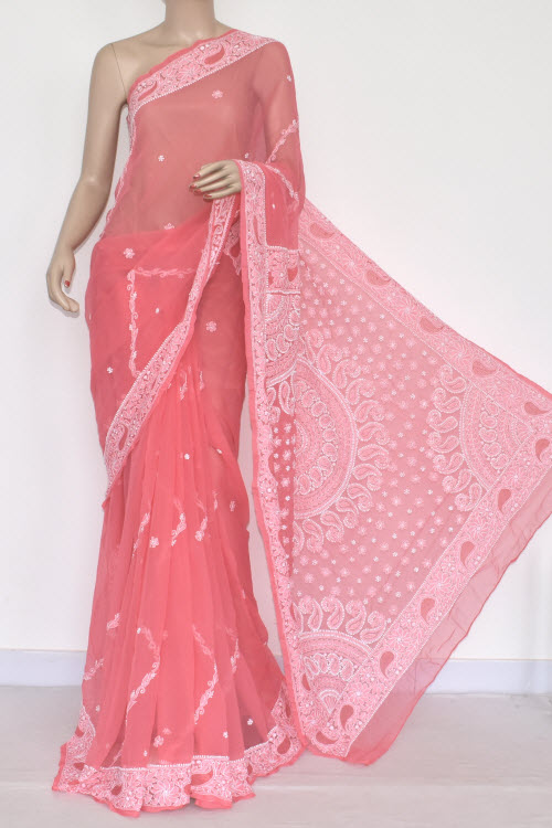 5c3667357b Peach Hand Embroidered Lucknowi Chikankari Saree (With Blouse - Georgette)  14456