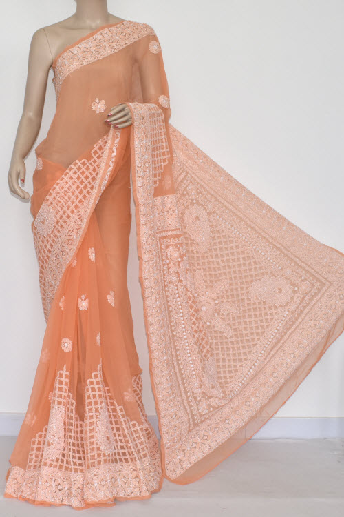 Light Orange Hand Embroidered Lucknowi Chikankari Saree (With Blouse - Georgette) 14486