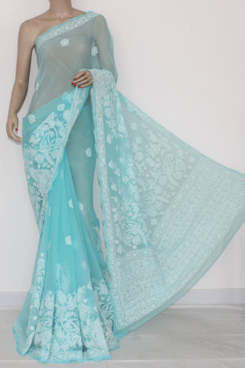 Sea Green Hand Embroidered Lucknowi Chikankari Saree (With Blouse - Georgette) 14576