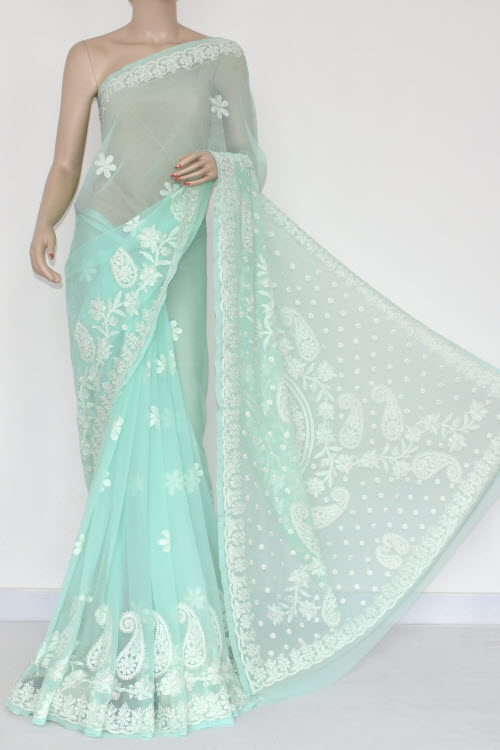 Light Sea Green Hand Embroidered Lucknowi Chikankari Saree (With Blouse - Georgette) 14822