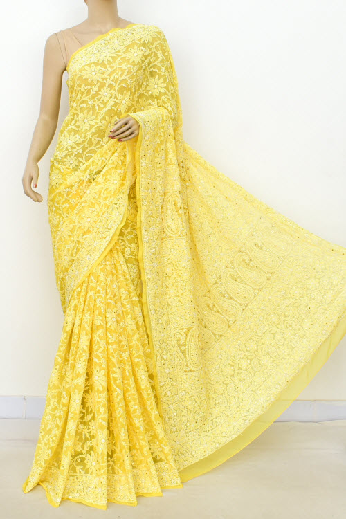 Yellow Allover Hand Embroidered Lucknowi Chikankari Saree (With Blouse - Faux Georgette) Full Jaal with Fine Mukaish Work 14952
