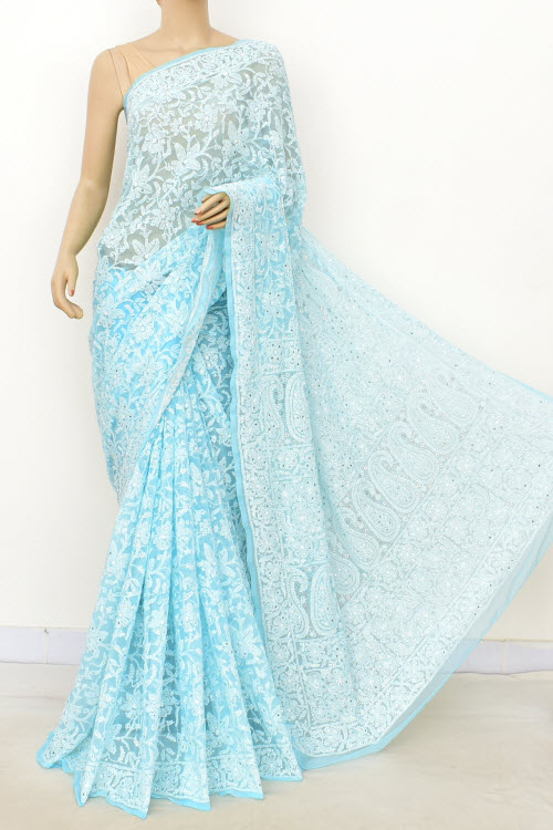 Sky Blue Allover Hand Embroidered Lucknowi Chikankari Saree (With Blouse - Faux Georgette) Full Jaal with Fine Mukaish Work 14949 (A Bridal Collection)