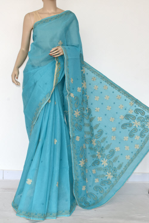 Blue Hand Embroidered Lucknowi Chikankari Saree (Cotton-With Blouse) 14727