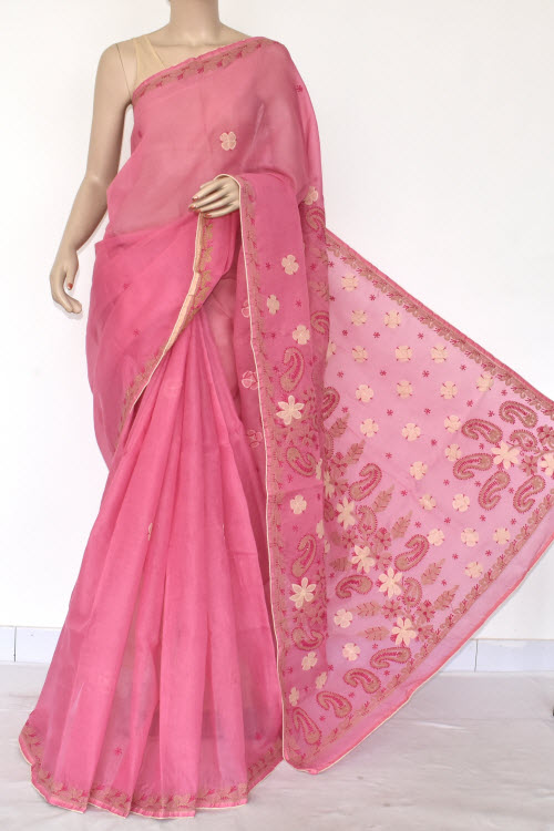 Pink Hand Embroidered Lucknowi Chikankari Saree (Cotton-With Blouse) 14728