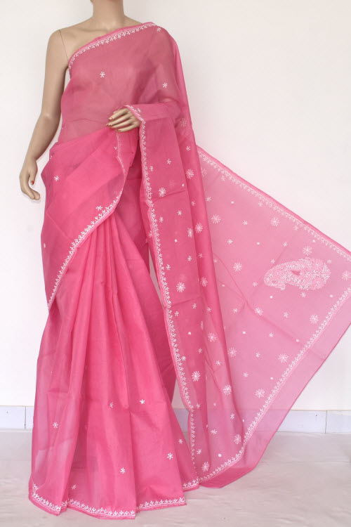 Pink Hand Embroidered Lucknowi Chikankari Saree (Cotton-With Blouse) 14511