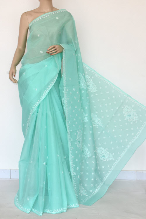 Sea Green Hand Embroidered Lucknowi Chikankari Saree (Cotton-With Blouse) 14519