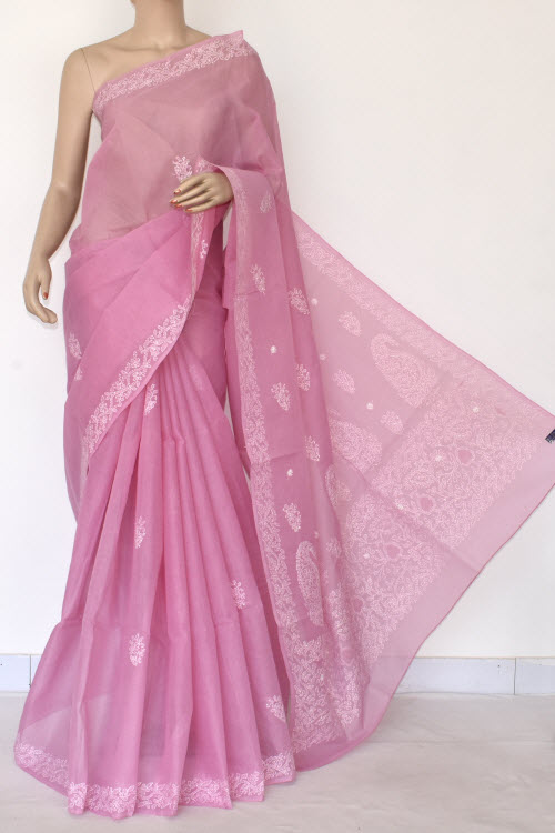 Purple Hand Embroidered Lucknowi Chikankari Saree (Cotton-With Blouse) 14524