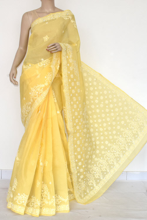 Yellow Hand Embroidered Lucknowi Chikankari Saree (Cotton-With Blouse) 14718