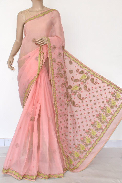 Baby Pink Hand Embroidered Lucknowi Chikankari Saree (Cotton-With Blouse) 14725