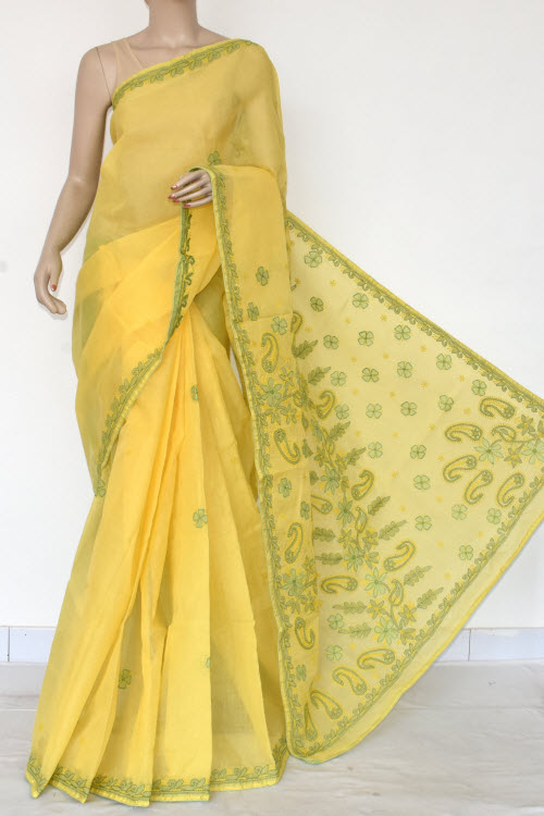 Yellow Hand Embroidered Lucknowi Chikankari Saree (Cotton-With Blouse) 14726