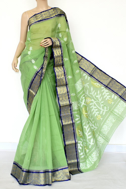 Pista Green Handwoven Bengal Tant Cotton Saree (Without Blouse) Zari Border 17003