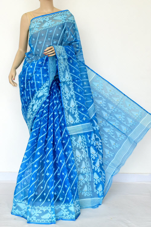 Turquoise Blue Jamdani Handwoven Bengal Tant Cotton Saree (Without Blouse) 17017