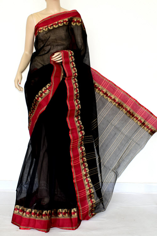 Black Red Handwoven Bengal Tant Cotton Saree (Without Blouse) Zari Border 17169