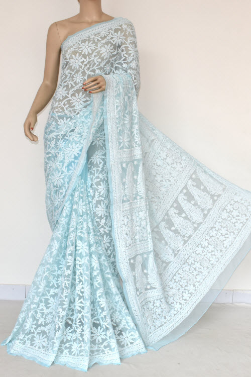 Sky Blue Allover Hand Embroidered Lucknowi Chikankari Saree (With Blouse - Georgette) 14839