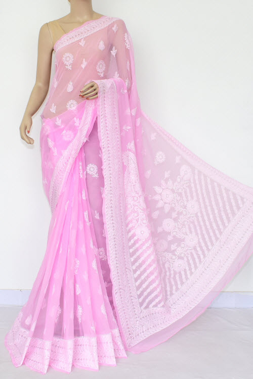 Light Pink Hand Embroidered Lucknowi Chikankari Saree (Georgette) 14660