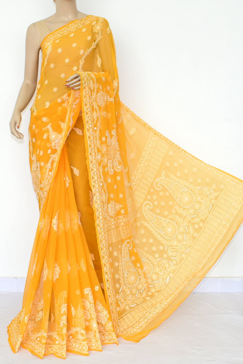 Orange Hand Embroidered Lucknowi Chikankari Saree (Georgette) 14653