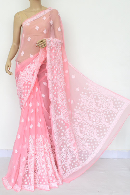 Light Pink Hand Embroidered Lucknowi Chikankari Saree (Georgette) 14644