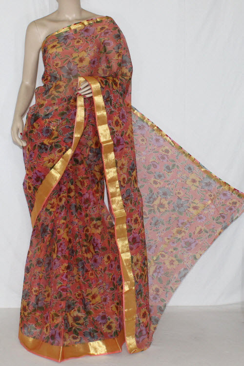 Mustared JP Kota Doria Floral Printed Cotton Saree (without Blouse) Golden Zari 15275