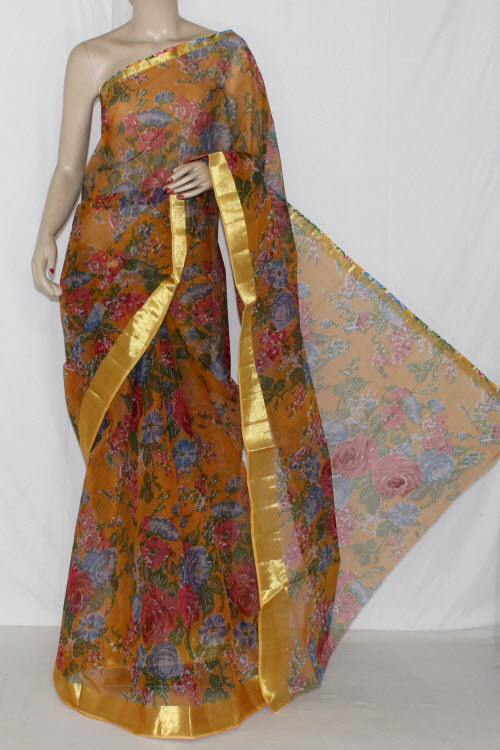 Mustared JP Kota Doria Floral Printed Cotton Saree (without Blouse) Golden Zari 15284