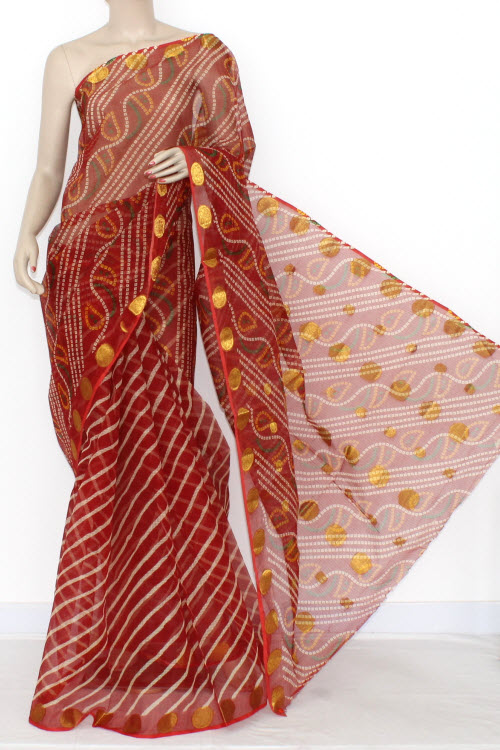 Maroon JP Kota Doria Chunri Print Cotton Saree (without Blouse) Zari Border & Pallu 15292
