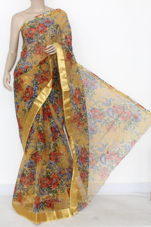 Mustared Yellow JP Kota Doria Printed Cotton Saree (without Blouse) Zari Border & Pallu 15305
