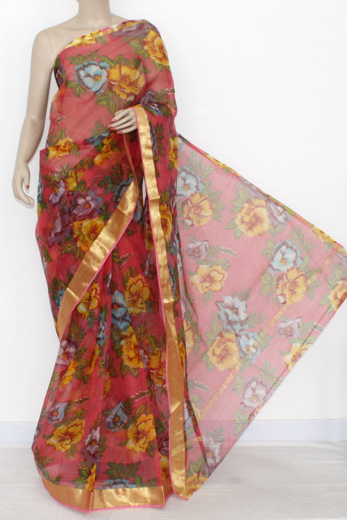 Peach JP Kota Doria Printed Cotton Saree (without Blouse) Zari Border & Pallu 15317