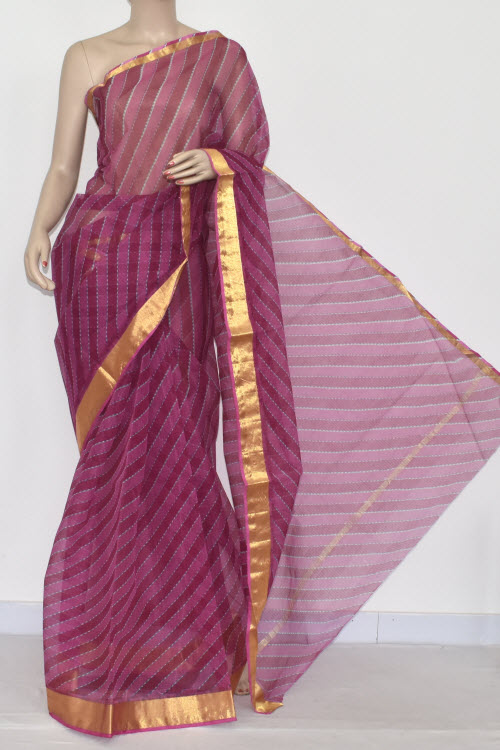Magenta Laheria JP Kota Doria Printed Cotton Saree (without Blouse) Zari Border 15324