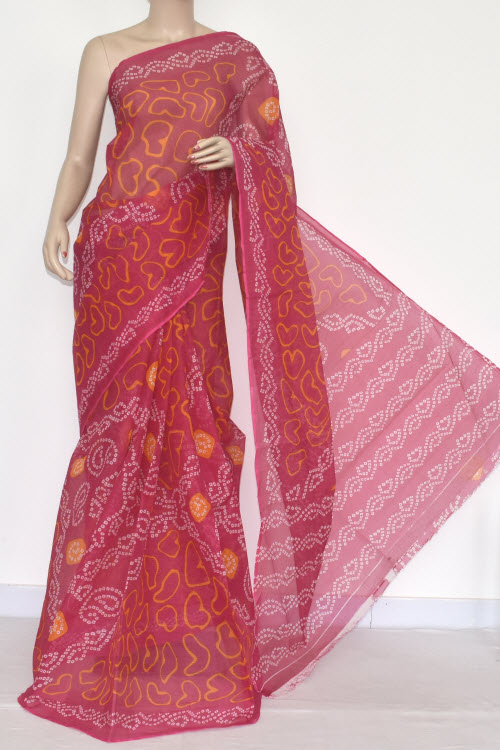 Pink Premium JP Kota Doria Chunri Print Saree (without Blouse - Cotton) 15335