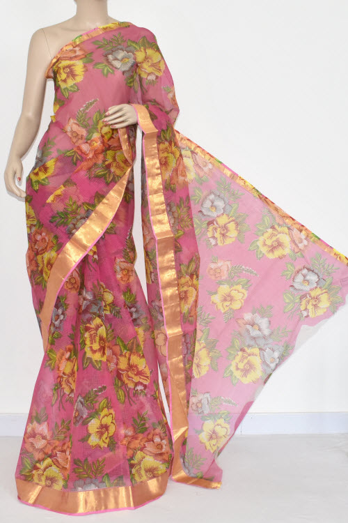 Pink JP Kota Doria Floral Print Cotton Saree (without Blouse) Zari Border 15356