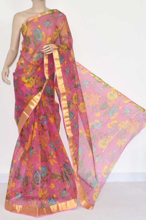 Pink JP Kota Doria Floral Print Cotton Saree (without Blouse) Zari Border 15360