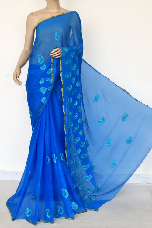 Pherozi Blue Handloom Semi-Chiffon Saree (with Blouse) Resham Embroidery 16187
