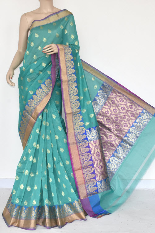 Red Green Handloom Chanderi Cotton Saree (with Blouse) Allover Resham Weaving 16210