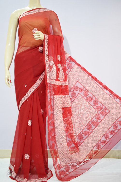 Red Color Hand Embroidered Lucknowi Chikankari Saree (With Blouse - Georgette)  71111
