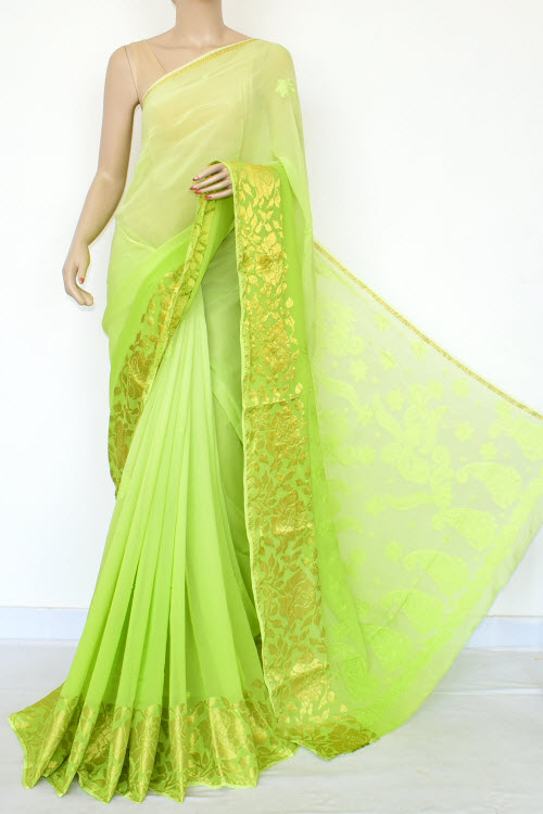 Green Shaded Hand Embroidered Lucknowi Chikankari Saree (With Blouse - Viscose) Zari Border 14886